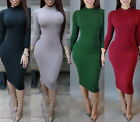 Womens Dresses Solid Basic Long Sleeve Lady Casual Party Dress Bodycon Plus Size