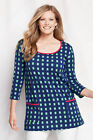 New Lands' End  3/4-sleeve Lightweight Cotton Rayon Scoop Neck Tunic Blue & Mint