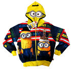 Kids MINIONS vibrant blue hooded sweatshirt jacket Size S-XL Age 6-13 yrs