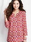 Lands' End New Tunic Top Resort Burnout Voile Fabric Deep Pink Mosaic Print $54