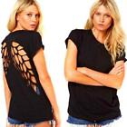 2016 Women Crew Neck T Shirt Angel Wings Hollow Back Short Sleeve Loose Tops Z