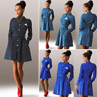 Womens Long Sleeve Casual Shirt Dress Party Evening Cocktail Pleated Mini Dress
