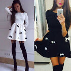 Women's Long Sleeve Bowknot Dress Party Evening A-line Mini dress Clubwear