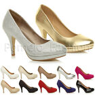 WOMENS LADIES HIGH HEEL PLATFORM SMART EVENING PARTY GLITTER COURT SHOES SIZE