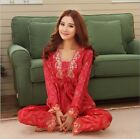 Women Lady Fashion Sexy Long Sleeve Nightgown Sleepwear Pajamas Set Chinese Red