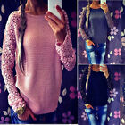 Womens Lace Crochet Long Sleeve Knitwear Jumper Pullover Top Sweater Blouse CHIC