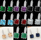 Womens 1 Pair Bright Colorful Cubic Zirconia Hoop Earrings 18K White Gold Filled