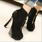 Sexy Womens Faux Suede Round Toe Zip Ankle Boots High Block Heel Casual Shoes
