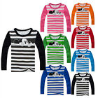 Unisex Baby Boy Girls Kids Mickey Mouse T-shirt Tops Blouse Stripes T-Shirt 2-7Y