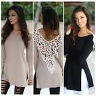 Korean Women Lace Floral Hollow Long Sleeve Casual Loose Tops T-shirts Blouse