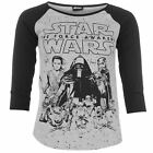 Star Wars Womens Ladies Episode 7 T Shirt Round Neck 3/4 Sleeve Tee Top
