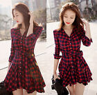 Sexy Women Long Sleeve Plaid Shirt Dress Evening Party Cocktail Short Mini Dress
