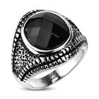 CLOSEOUT! Stainless Steel Men's Gecko Eye Black Faceted CZ Ring Size 9-13