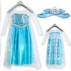UK FAST SHIP BIG SALE 2PCS Elsa Fancy Dress Costume Kids Girls Princess X-mas