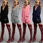 Sexy Womens Pullover Jumper Dress Ladies V-neck Casual Blouse Loose Tops T-Shirt