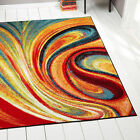 Swirls Contemporary Modern Area Rug Multi-Color Abstract Floor Décor Carpet