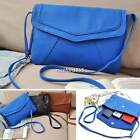 Women Soild Satchel PU Leather Tote Shoulder Bag Ladies Blue Crossbody Handbag