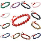 8mm Gemstone Buddhist Prayer Beads Crystal Beaded Adjustable Bracelet Bangle