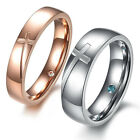 Silver&Rose Gold Cross Puzzle Titanium Steel Couple Ring Inside CZ Wedding Band