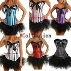 Lady Lace up Polka Dot Sexy Corset Gothic Boned Bustier Tops MINI Skirt S-2XL