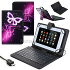 """For 7"""" 8"""" 10.1"""" LG G Pad Android Tablet Leather Stand Case Cover with Keyboard"""