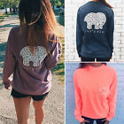 New Women Pullover Long Sleeve T shirt Elephant Crochet Tops Casual Loose Blouse
