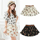 Fashion Womens Elastic Waist Pleated Floral Short Mini Skirt Skater Flared Dress