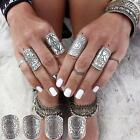Womens Silver Plated Vintage Gypsy Boho Carved Totem Antique Midi Rings AU