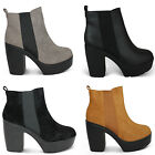 NEW WOMENS LADIES BLOCK CHUNKY HEEL PLATFORM CHELSEA ANKE SHOES BOOTS SIZE 3-8