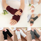 Unisex  Women Knitted Fingerless Winter Gloves Soft Warm Mitten Solid 7 Colors
