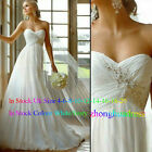 New Custom Made Ivory/White Appliques Chiffon Empire Wedding Dress Bridal Gowns