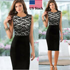 Women Sexy vintage Slim Lace Sleeveless Bodycon Cocktail gift Party Pencil Dress