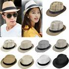 Women Summer Beach Trilby Floppy Fedora Straw Wide Brim Beach Cap Sun UV Hat