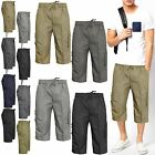 NEW MENS 3/4 ELASTICATED PLAIN SHORTS CARGO COMBAT 6/5 POCKET SUMMER PANTS
