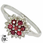 BJC® 9ct White gold Ruby & Diamond cluster size P engagement dress ring  R8