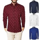 SMITH & JONES MEN'S CASUAL BRANDED SHIRT LONG SLEEVE DETAILED PATTERN PRINT TOP
