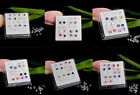 10Pairs/Box Colorful Silver Cubic Zirconia Ear Stud Earrings