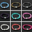 Women Leather Wrap Magnetic Buckle Rhinestone Wristband Cuff Bracelet Bangle HOT