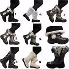 Womens Ladies Girls Winter Snow Fur Lined Mid Calf Themal Grip Sole Boots Shoes