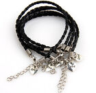 10Pcs Black Woven Artificial Leather with Heart Charm Bracelets Fit Gift