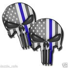 Punisher Skull -Blue Stripe Support Police U.S. Die-Cut Decal Stickers 2pack!