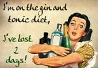 FV30 Vintage Style Gin Tonic Diet Lost 2 Days Booze Funny Poster Print A2/A3/A4