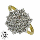 BJC® 18ct yellow gold 1.50ct size S Diamond Cluster engagement ring R84
