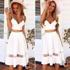 Two Piece 2 Bralet Bustier Bra Crop Top Womens Sexy Party Lace Dress Skirt N4U8