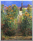 Stretched Canvas Art Print Claude Monet Steps at Vetheuil Flowers Painting Repro