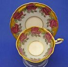 Wide Paragon England Blue Heavy Gold Pink Roses Bone China Cup Saucer Duo Set