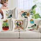Cotton Linen Fashion Simple Birds & Trees Pillow Case Cushion Cover Home Decor