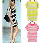Chiffon Party Womens Blouse Loose Tunic Shirt Ladies Long Top Stripes Dress Size