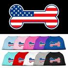 Bone Shaped American Flag Dog Shirt 4th of July Pet Clothes USA Red White Blue