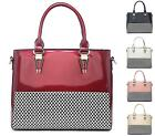 LADIES FAUX PATENT LEATHER DESIGNER STYLE MONOCHROME MOSAIC FASHION HANDBAG